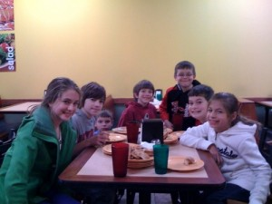 Post LaserTag, the team needed Pizza!